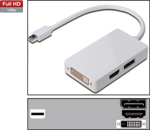 Adapter MINI DisplayPort  moški <> ženski HDMI/DP/DVI