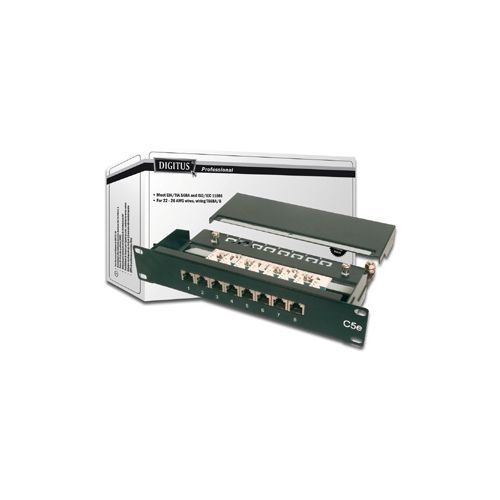 Patch panel 8 portni STP, Cat.5e 1U